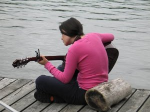 Playing on the Dock in Northern Ontario, Canada
